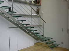 Stupendous Metal Stringer Stairs; Tough Construction : Marvelous Quarter Turn Metal Stringer Stairs With Lateral Glass Steps