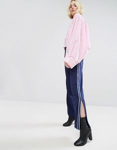 STYLENANDA Wide Leg Track Trousers With Side Stripe & Ankle Zip