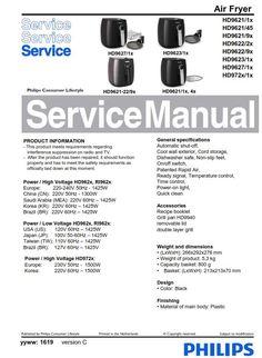 Philips Airfryer HD9654 original service manual. Free