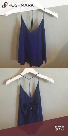 Rory Becca top Silk royal blue backless tank top Rory Beca Tops Blouses