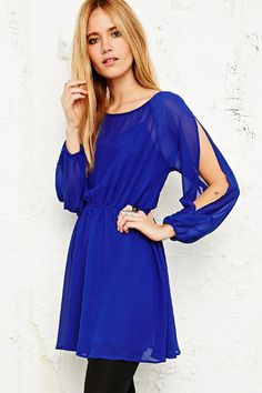 Pins & Needles Chiffon Dress in Blue at Urban Outfitters