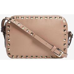 Valentino Rockstud Camera Bag: Khaki ($1,395) ❤ liked on Polyvore featuring bags, handbags, white bags, khaki handbag, zip top bag, valentino handbags and valentino purses
