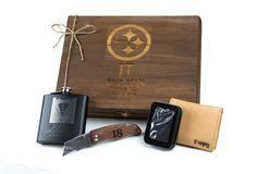 Personalized Groomsmen Gift Rustic Box - Felt Lined Keepsake Box Flask Lighter Wallet & Knife - FREE Shipping - Set of 6 - FREE ENGRAVING