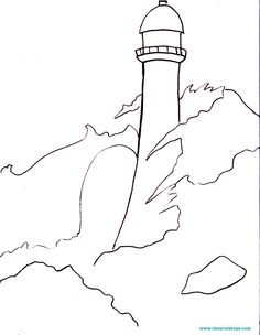 The Story of the Rock Traceable for the youtube lesson with the Art sherpa A stormy lighthouse