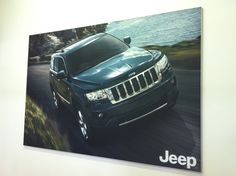 A wall-mounted fabric banner frame. Fabric Frame, Framed Fabric, Banner Design, Signage, Jeep, Branding, Car, Prints, Ideas