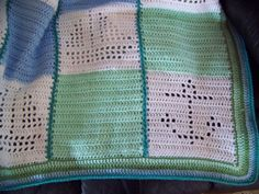 Hand Crocheted Baby Afghan Blanket - Nautical Boats and Anchors - Blue, White, Green