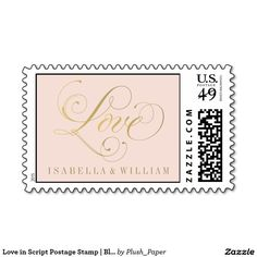 "Add color and style to your wedding announcement and invitation envelopes with this timeless and elegant ""Love"" wedding postage stamp. Stamps include a monogram of the bride and groom's names, blush pink and gold colors. #wedding #stamps #postage"