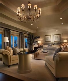 Dream Master Bedroom-- I love the sitting area with different lighting!