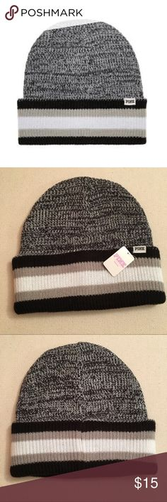 a08a788a012131 NWT Pink Victoria's Secret Grey Beanie Brand New Victoria's secret Pink Knit  Beanie winter hat Reversible Black Gray with Stitched Logo PINK Victoria's  ...