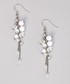 Take a look at this White & Silver Chain Earrings on zulily today!
