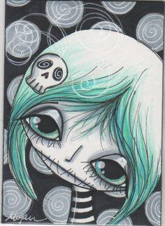 Make Art & Live Happy: new artist trading cards Megan Suarez Artist Workshop, Pop Art Girl, Gothic Dolls, Creepy Cute, Artist Trading Cards, Gothic Art, Horror Art, Whimsical Art, Skull Art