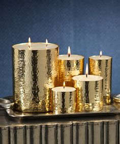 Naoura Hammered Metal Pillar Candle - 3 x 3 - Transitional - Candles And Candle Holders - Bliss Home & Design Gold Candles, Diy Candles, Pillar Candles, Scented Candles, Decorative Candles, Chandeliers, Candle Chandelier, Candle Lanterns, Bliss Home And Design