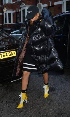 Splurge: Rihanna's Harrod's Raf Simons Black Down Oversized Coat and Fenty x Puma Fall 2016 Heeled Booties | The Fashion Bomb Blog | Bloglovin'