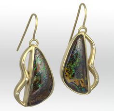 """I've just finished a number of pieces for my #GemmeLesFormes collection, featuring one of my favorite gems. Opal was valued above all gems by the Romans, so I'll leave it to the great Roman naturalist and natural philosopher, Pliny the Elder, to describe them: """"Made up of the glories of the most precious gems ... and all shining together in an indescribable union."""" These gorgeous free-form, heart-shaped earrings are all that, and more. #LisaDesCampsJewelry #Opal #OpalJewels #PlinyTheElder"""