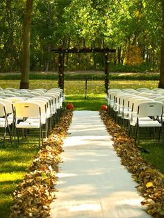 Leaves on the sides of the aisle!   Or fill a drapery with leaves and the leaves are released/dropped after the newleyweds are announced as Mr. & Mrs. (at ceremony).