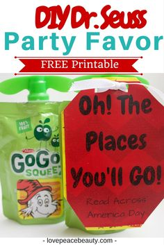 Dr. Seuss Inspired Treat for Kids with GoGo Squeez. Read Across America treat.