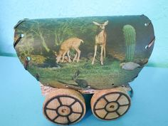 Vintage Wooden Covered Wagon Lamp And Clip-on Paper Shade With Western Theme…