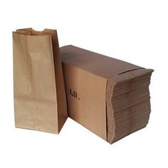 """4 Pound Brown Paper Bags - 500 Count - 4 7/8"""" x 3"""" x 10"""" - Sack Lunch Bags"""