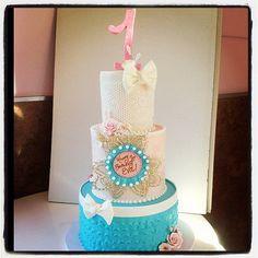 Here is another 1st birthday cake! Happy Birthday Eva! #cake #firstbirthday #girly #cute