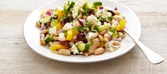 Bean And Barley Greek Salad Adding beans and grain to a classic Greek salad turns it into a hearty one-dish meal that includes all the fresh flavour of Canadian Feta. Barley Salad, Soup And Salad, Feta Salad, Salad Bar, Beans And Barley, Beans Vegetable, Cooking Recipes, Healthy Recipes, Healthy Cooking