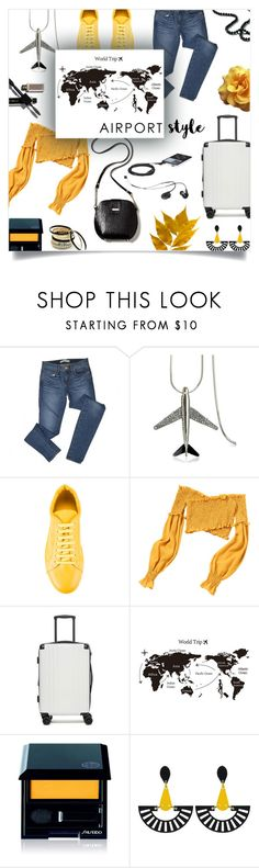 """airport style."" by ezgi-g ❤ liked on Polyvore featuring J Brand, WithChic, Jil Sander, CalPak, Shiseido, Toolally, Venus and airportstyle"
