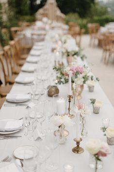 Table Decor   Romantic Pink & White French Riviera Wedding at Chateau Saint Jeannet   Sebastien Boudot Photography   Shoot Me Now Films