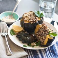 Acorn Squash with Quinoa Stuffing and Lemon-Tahini Sauce. {recipe}