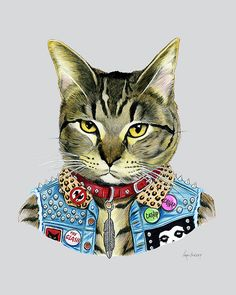 Punk Cat art print  - Pet Portrait - Animals in Clothes - Animal Art - Punk Rock…