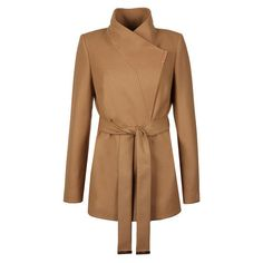 Womens Brown Keyla Short Wrap Coat (2 375 SEK) ❤ liked on Polyvore featuring outerwear, coats, short wrap coat, short coat, wrap coats and brown coat