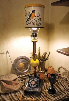 Upcycled Lamp with Vintage Black Telephone and Robin Bird Tin Canister Light Fixture of Found Objects