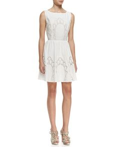 Vinny Embroidered Cotton Party Dress by Alice + Olivia at Neiman Marcus.