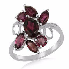 925 Sterling Silver Rhodolite Garnet Designer Fine Ring Valentine Gift Jewelry  #Unbranded #Cluster #ValentinesDay