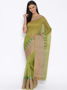 Buy Bunkar Green Cotton Silk Banarasi Saree -  - Apparel for Women from Bunkar at Rs. 2599