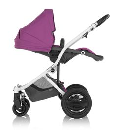 Britax Affinity Stroller in Cool Berry - Reversible reclining seat #baby #style #custom