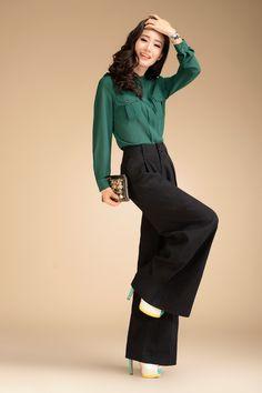 Aliexpress.com : Buy 2013 Autumn Fashion Formal Womens High Waist Black Trousers Woman Plus size XXL Linen Wide Leg Pants For Women , Woman ...