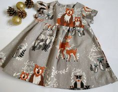 Baby girls Christmas dress, Baby Holiday dress short sleeves, foxes, reindeer, woodland Baby Christmas dress reindeer Size 6 m ready to ship by SilSewingStudio on Etsy