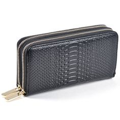 OLGITUM Women Leather Purses Wallets High Quality  Luxury Wallet  Day Clutch Coin Double Zipper Card Bag Black Purse S045 #Affiliate