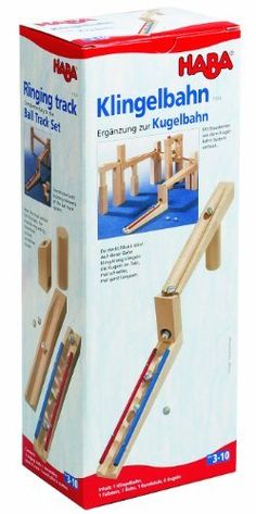 Ringing Track - Marble Ball Track Accessory by Haba. $26.99. Kugelbahn/Balltrack ACCESSORY For a marble concert. On this run, marbles chime in time. Contents: 1 ringing track, 1 descending block, 1 track (32 cm), 1 round pillar, 6 marbles.