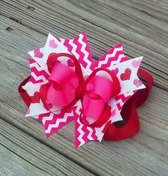 6 Valentine's Day Hair Bow with Hearts READY by MiaBellaCrafting