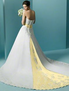 Wedding dresses with yellow trim