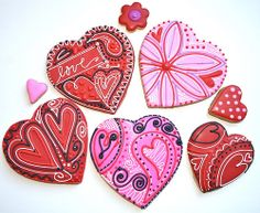 Valentine's Day Cookies heart Repinned By:#TheCookieCutterCompany