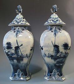 Pair Old Delft Blue White Vases w Landscape Decor Drilled for Lamp Conversion | eBay