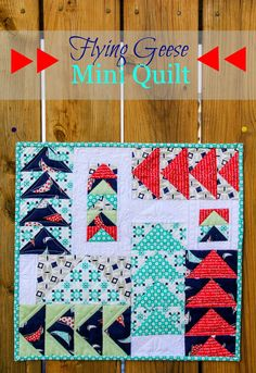 Fort Worth Fabric Studio: Flying Geese Mini Quilt - Love the quilt and the colors! Small Quilt Projects, Quilting Projects, Quilting Designs, Sewing Projects, Sewing Ideas, Nancy Zieman, Small Quilts, Mini Quilts, Scrappy Quilts