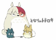 Boku kein Held Academia x Tonari kein Totoro … My Hero Academia Shouto, Hero Academia Characters, Anime Characters, Boku No Hero Academia Funny, Digimon, Film Animation Japonais, Series Manga, Fanart Manga, Tsurezure Children