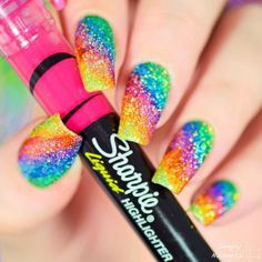 to Make Your Make your with these Glitter Nail Art For Glitter Nails; and Glitter Nail Design for Short Sharpie Nail Art, Glitter Nail Art, Acrylic Nail Art, Silver Glitter, Winter Nail Designs, Cute Nail Designs, Cute Nail Art, Cute Nails, Rainbow Nail Art