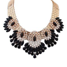 Fashion Statement Necklace, Zinc Alloy, with Resin, Flower, real gold plated, faceted & with rhinestone, black