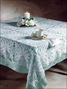 Crochet a beautiful white tablecloth using size 10 thread. Free Crochet Pattern