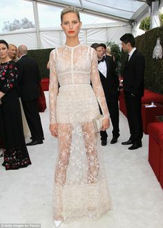 Sheer perfection too! Model Karolina Kurkova showed off her own show-stopping form at Elton John AIDS Foundation Academy Awards Viewing Party