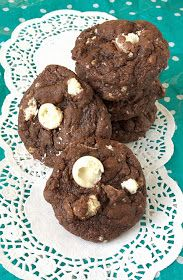Soft baked Double Chocolate Aero Bubbles Cookies with a fudge like centre.