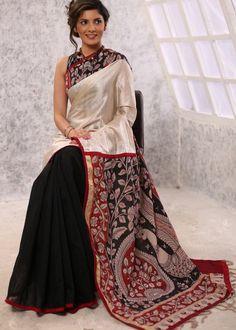 Exclusive pure tasar silk combinaiton with hand painted kalamkari pallu & black chanderi pleats saree